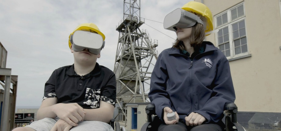 Fin Allen and Star Clap trying out Geevor Tin Mine's 360 degree accessible VR tour – photo courtesy of Soundview Media